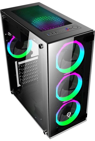 GameTech GT-003 4x120mm Fanlı Tempered Pencereli Oyuncu Bilgisayar Kasası