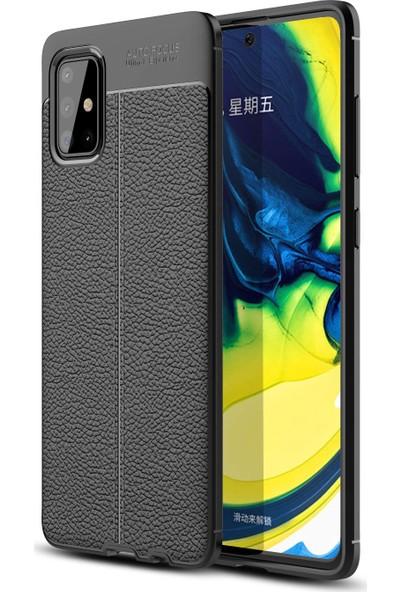 Happyshop Samsung Galaxy A51 Kılıf Deri Desenli Lux Niss Silikon + Cam Ekran Koruyucu Siyah