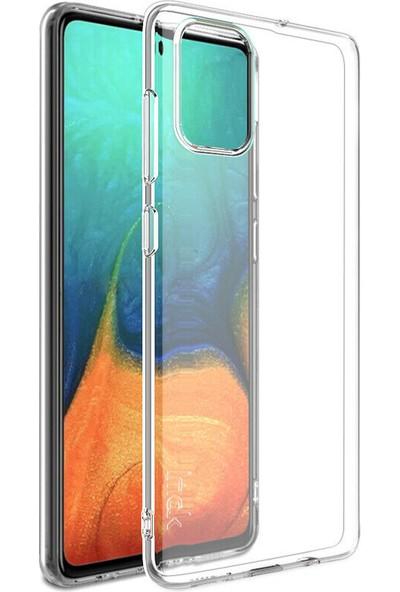 Happyshop Samsung Galaxy A51 Kılıf Ultra İnce Şeffaf Silikon + Cam Ekran Koruyucu Şeffaf