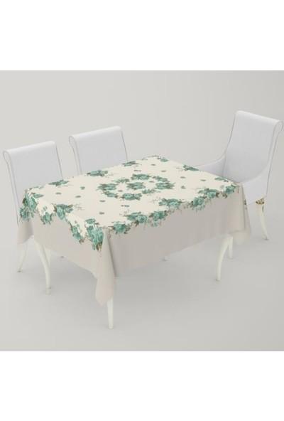 Puffy Home Masa Örtüsü Güllü Yeşil 140 x 170 cm