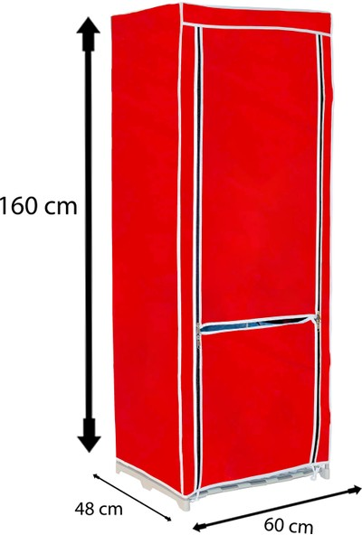 Asudehome Halley Portatif Gardırop Bez Dolap Flaş Kırmızı Plastik Raf Gardrop
