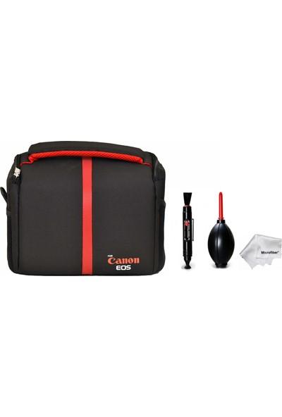 Pdx Kare Omuz Set Çanta + Hava Temizleme Pompası + Lenspen + Microfiber Bez - Canon 70D 77D 80D 1000D 1100D 1200D