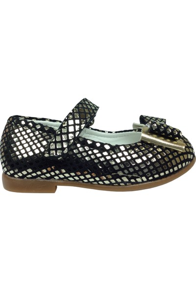 Ortaç İlk Adım Gümüşe Siyah Crocodil Rugan Katlı Taşlı Fiyonk Kız Çocuk Babet Ayakkabı Abiye Fantazi Düğün
