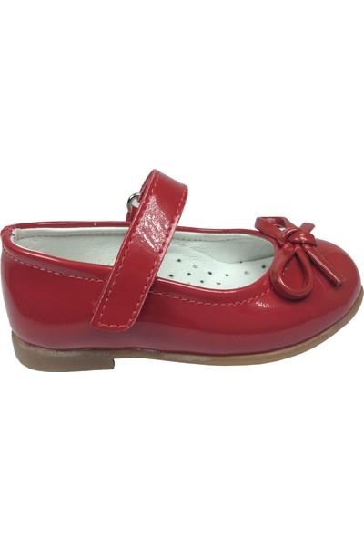 Ortaç İlk Adım Kırmızı Rugan Bıyık Fiyonk Kız Çocuk Babet Ayakkabı Abiye Fantazi Düğün