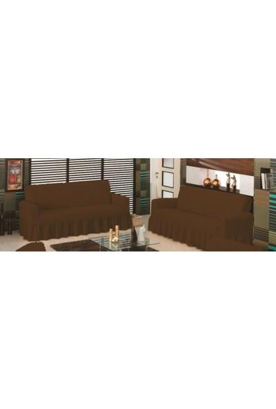 Evory Home Bürümcük Çekyat Örtüsü (3+3) - Kahverengi