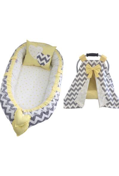 Modastra Babynest Gri Zigzag ve Sarı Tasarım Puset Örtülü Set