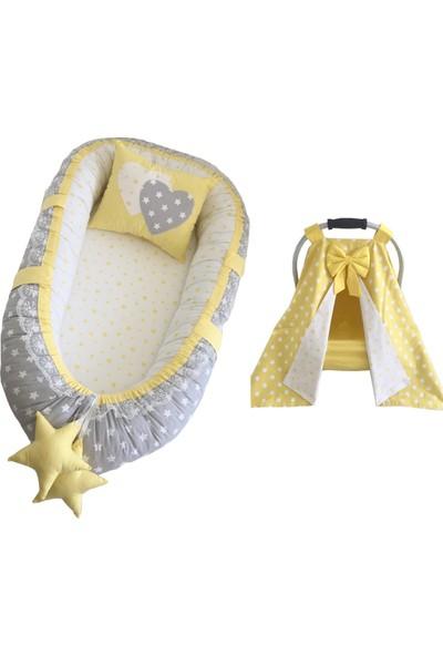 Modastra Babynest Gri ve Sarı Tasarım Puset Örtülü Set