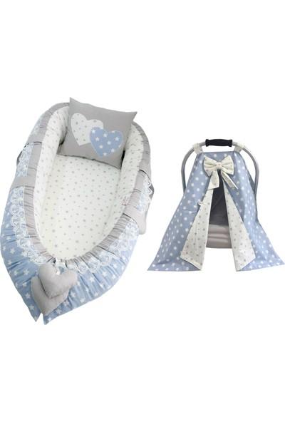 Modastra Babynest Gri ve Mavi Tasarım Puset Örtülü Set