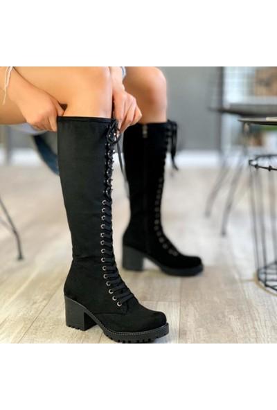 Limoya Annika Siyah Süet Bağcıklı Kalın Topuklu Çizme