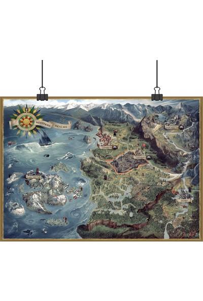 13 Poster Witcher 3 Wild Hunt Vahşi Av World Map Dünya Haritası 50 x 70 cm Posteri