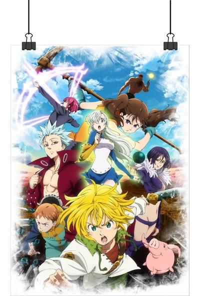 13 Poster Nanatsu No Taizai Seven Deadly Sins Anime Tüm Karakterler 100 x 70 cm Posteri
