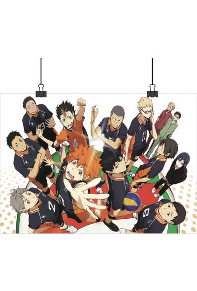 13 Poster Voleybol Animesi Haikyuu Takım Bir Arada 33 x 48 cm Posteri
