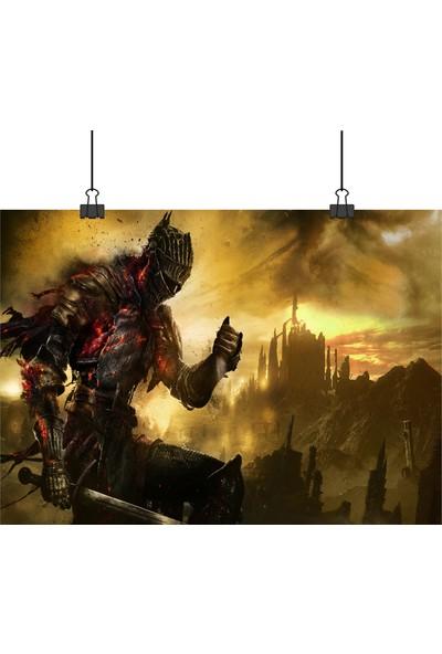 13 Poster Dark Souls 3 Karanlık Ruhlar Oyunu Ana Karakter Yakından 70 x 100 cm Posteri