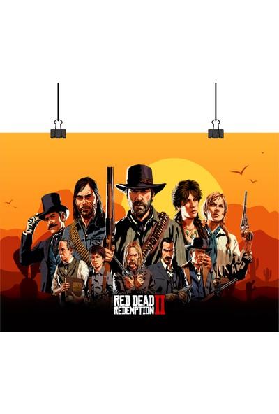 13 Poster Red Dead Redemption 2 Oyunu Tüm Karakterler Bir Arada 50 x 70 cm Posteri