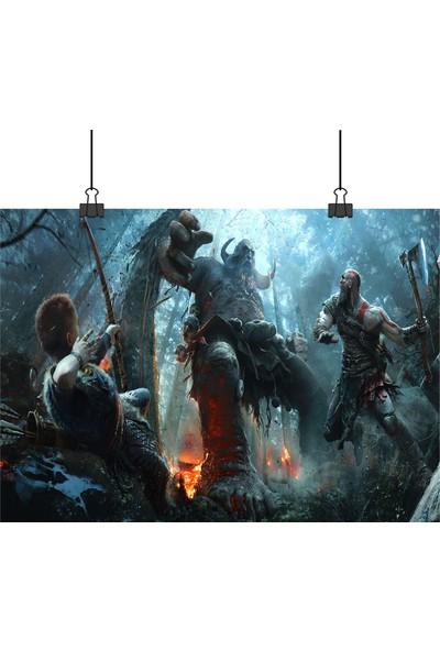 13 Poster God Of War 4 Kratos ve Oğlu Goleme Karşı Playstation Ps Oyunu 33 x 48 cm Posteri
