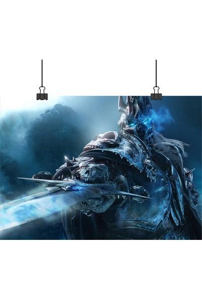 13 Poster World Of Warcraft Oyunu Wow Lich King Arthas Karakteri Yakın Açılı 70 x 100 cm Posteri