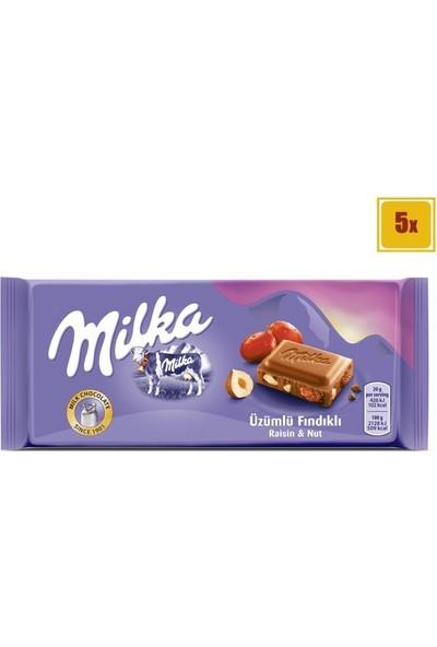 Milka Üzüm Fındık Tablet Çikolata 80 gr - 5 Adet