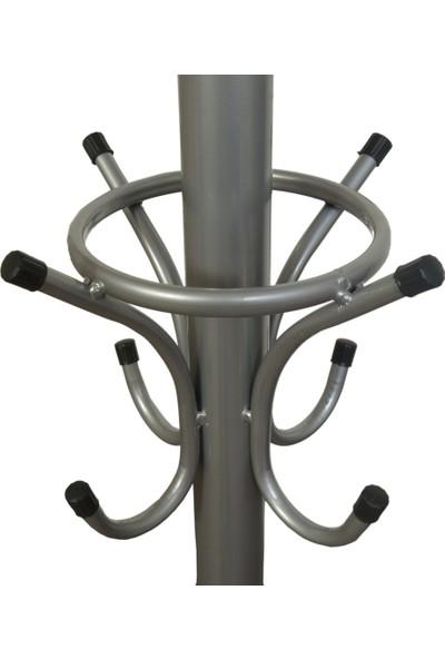 Bidesenal Ayaklı Metal Askılık 2 Katlı Gri Renk Şemsiyelikli 100 kg Kapasiteli