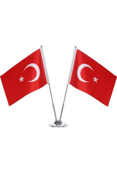 Gönder Bayrak İkili Türk Masa Bayrağı Krom Direkli