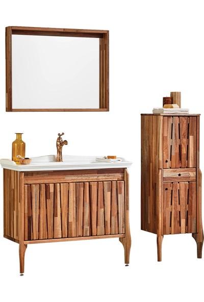 Gold Ban-Yom Foglia 100 cm Masif Ahşap Banyo Dolabı + Ayna Ünitesi + Boy Dolabı + Seramik Lavabo