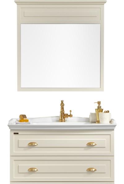 Gold Ban-Yom Bianca 100 cm Krem Banyo Dolabı + Ayna Ünitesi + Seramik Lavabo