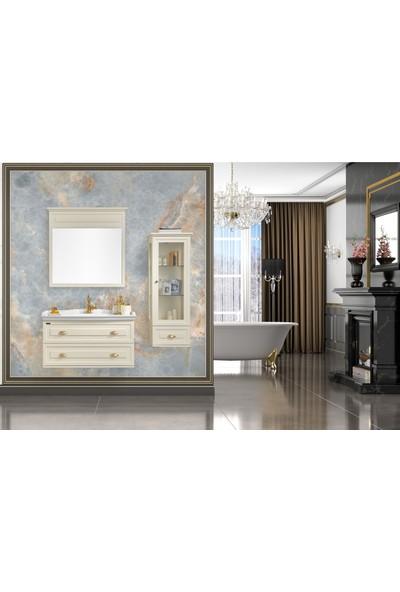Gold Ban-Yom Bianca 100 cm Krem Banyo Dolabı + Ayna Ünitesi + Boy Dolabı + Seramik Lavabo