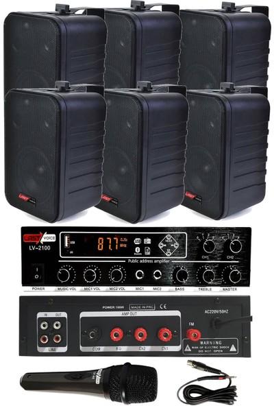 König Black Large Paket5 Hoparlör ve Anfi Anons Ses Sistemi Seti