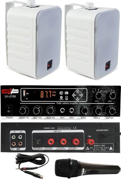 König Large Paket1 Hoparlör ve Anfi Anons Ses Sistemi Seti
