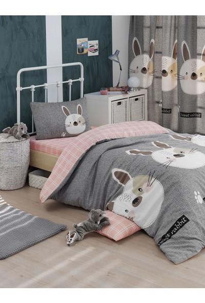 Eponj Home Kolay Ütülenir Nevresim Takımı Tek Kişilik Tavşancık A.Kahve-Gri-Pembe