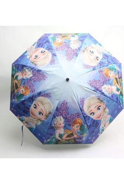 Schulzz Tam Otomatik Açılır Kapanır Rüzgarda Kırılmayan Şemsiye Frozen Mavi