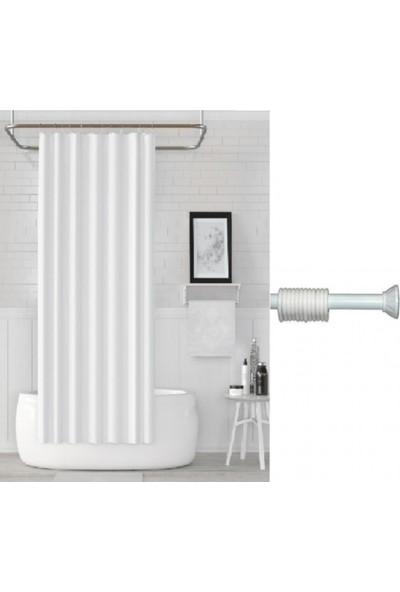 Prado Banyo Duş Perdesi Beyaz 180 x 200 cm + Askı