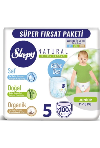 Sleepy Natural Mega Paket Junior 5 Beden Külot Bez 100 Adet