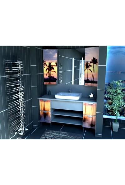 Artila Işıklı Kapaklı Palmiye Seramik Çanak Lavabolu Tezgah ve Ara Panolu Esnek Ölçülü Banyo Dolabı