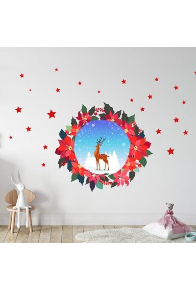 Sim Tasarım Yeni Yıl Tema Yılbaşı Çiçeği, Geyik ve Yıldızlar Duvar Sticker Seti