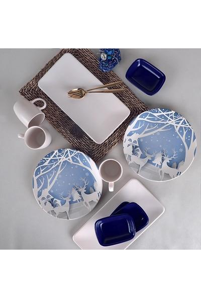Keramika Kobalt Geyik Keyf-i Brunch Seti 20 Parça 6 Kişilik
