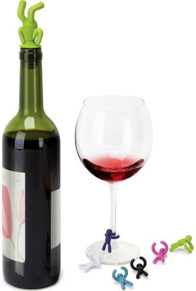 Arin Renkli Silikon Şişe Tıpası ve Ayraç Tapa Kapak Mantar Zeytinyağı Şarap Servis Aksesuarı7 Adet Insan Temalı