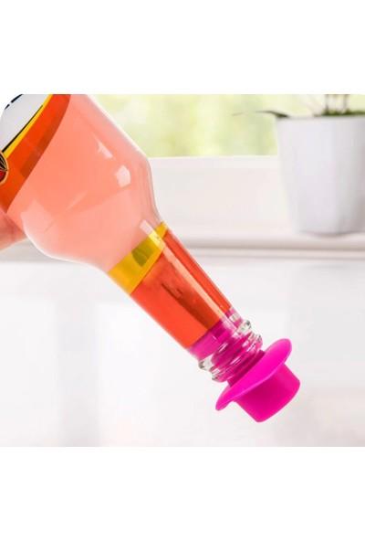 Arin Renkli Silikon Şişe Tıpası Tapa Kapak Mantar Zeytinyağı Şarap Servis Aksesuarı5 Adet