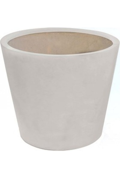 Greenmall Fiberstone Konik Saksı Beyaz 60 x 50 cm