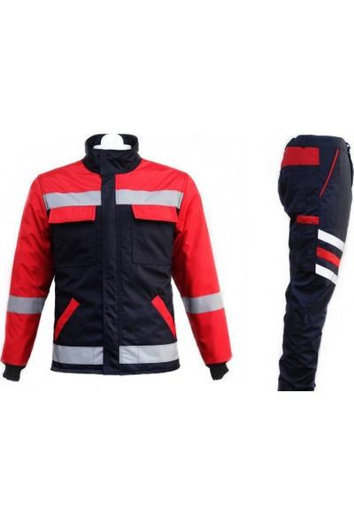 Ysf İçi Elyaflı Reflektörlü Mont Pantolon Takım Kırmızı M