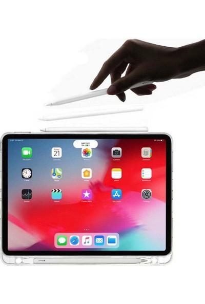 Coverzone Apple iPad 8 Kılıf Kalem Yuvalı Silikon TPU Şeffaf
