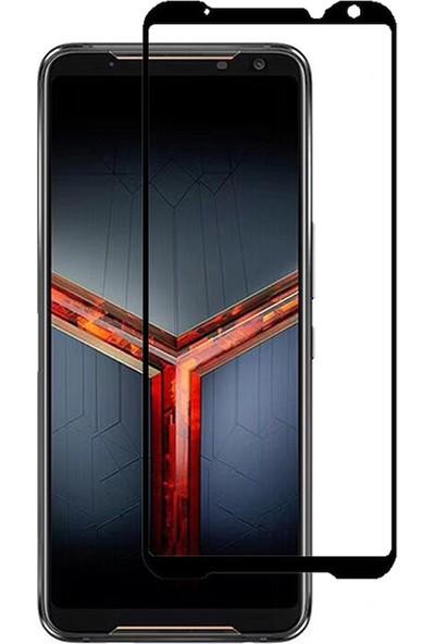 Microcase Asus ROG Phone 2 Tam Kaplayan Çerçeveli Tempered Ekran Koruyucu - Siyah