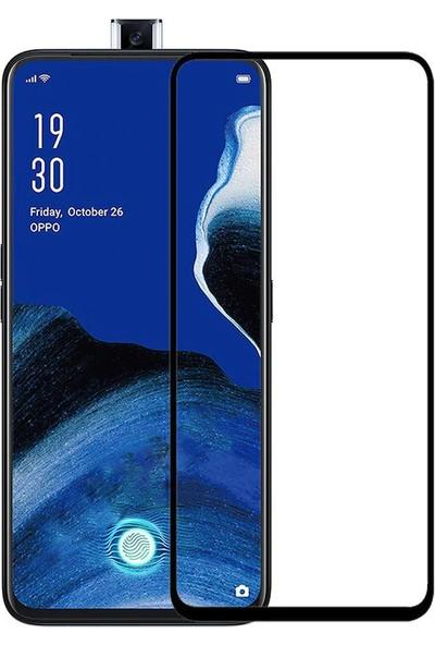 Microcase Oppo Reno 2Z Tam Kaplayan Çerçeveli Tempered Ekran Koruyucu - Siyah