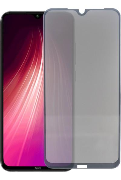 Case 4U Xiaomi Redmi Note 8 Privacy Tam Kaplayan Gizlilik Filtreli 5D Cam Ekran Koruyucu Siyah