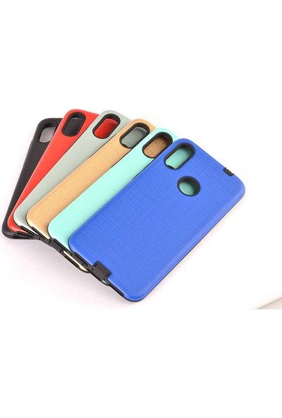 Case 4U Xiaomi Redmi Note 8 Kılıf Tam Koruyan Sert Silikon Çizgili YouYou Arka Kapak Altın