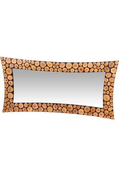 Dfn Wood Doğal Ahşap İçbükey Dekoratif Duvar Salon Boy Aynası