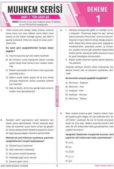 Ddy Yayınları DHBT 2 2020 Muhkem Serisi Lisans-Önlisans Tamamı Çözümlü 10 Deneme