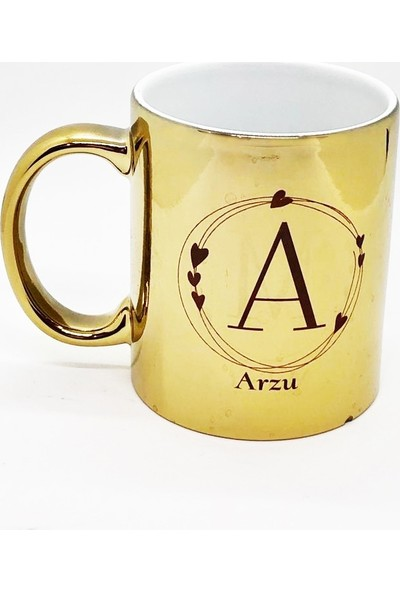 Arctimo Monogram Gold Zemin Kişiye Özel Seramik Kupa