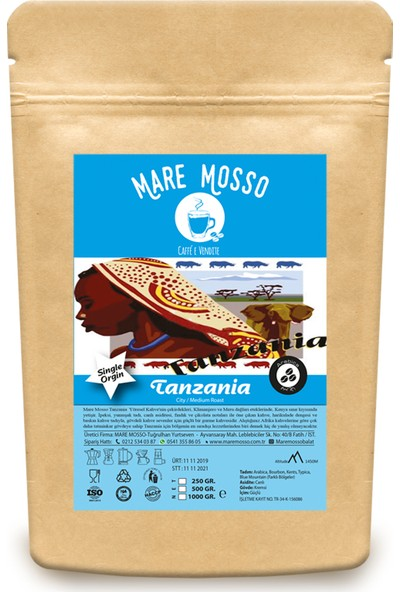 Mare Mosso Yöresel Tanzania Kahve Çekirdeği 250 gr