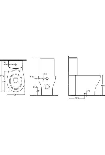 Ece Banyo Duvara Sıfır Takım Klozet Seti + Yavaş Kapanan Kapak