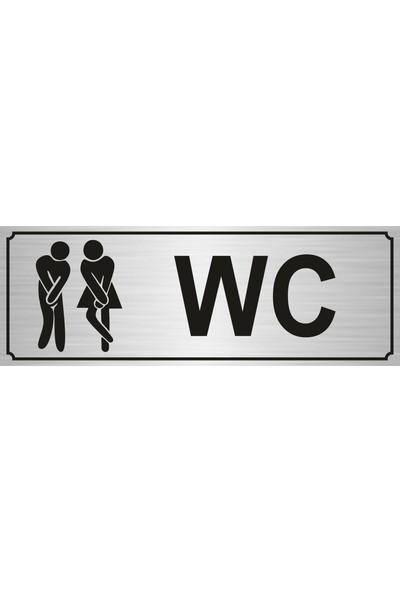 Gift Box Wc Bay Bayan Yönlendirme Levhası 7 x 20 cm Yapışkanlı Gümüş Renk